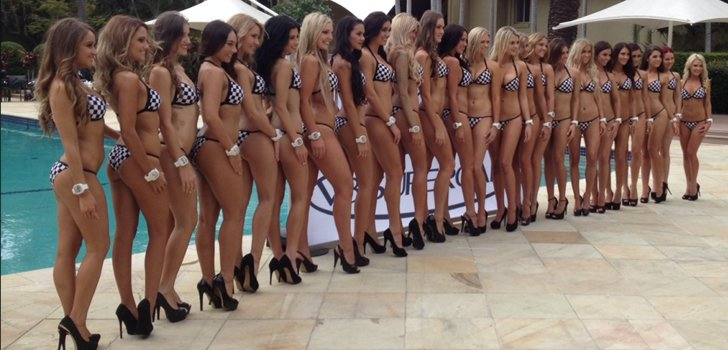 Miss V8 Supercars girls poolside at the Mecure Resort. PHOTO: myGC