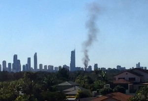 The smoke plume from the car crash was seen across the Gold Coast. Image: Aby Leventhal