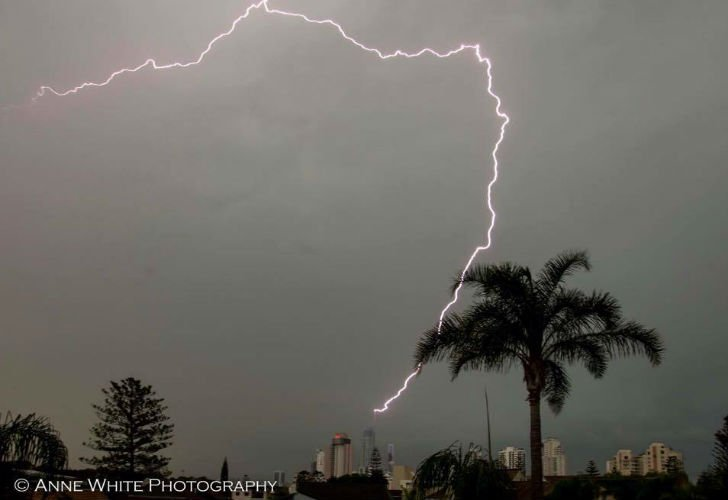 The Gold Coast's iconic Q1 tower was hit by lightning multiple times during Tuesday's storms   PICTURE: Annie White