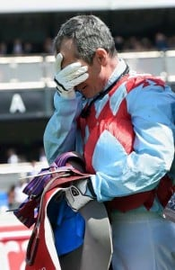 Jockey Gerald Mosse was devastated after Red Cadeaux's injury in the Melbourne Cup. Image: Facebook/Red Cadeaux