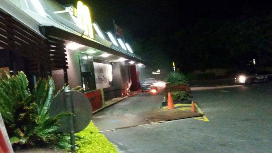 The car caught fire in a McDonald's drive-thru at Nerang PHOTO: Supplied by Mitchell Crisp