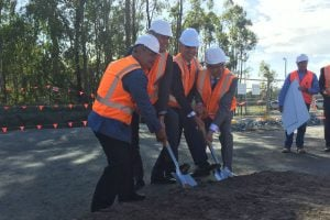 Turning the first sod. Image: Michelle Price my gc