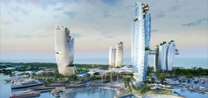"""""""Artist's perspective of the Gold Coast Integrated Resort - aerial"""" - ASF"""