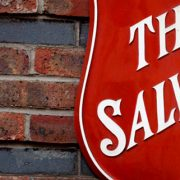 The Salvation Army logo on a wall