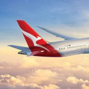 QANTAS Boeing 787 Dreamliner flying above the clouds