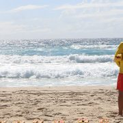 A surf life saver at the beach on the Gold Coast
