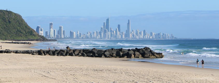 The Gold Coast skyline from Palm Beach GC