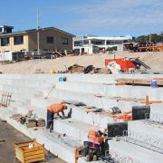 Work forges ahead on the concrete steps linking Kingscliff Central Park and the beach